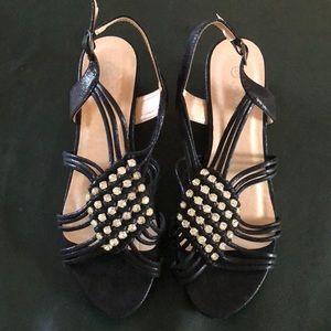 Shoes - Forever Black Wedges Bling Size 6